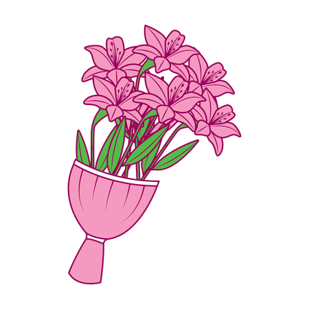 elegance delicate bouquet lilies flowers wrapped vector illustration pink and green image