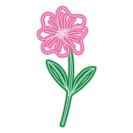 A cute flower periwinkle petals leaves stem icon vector illustration neon pink and green line image Illusztráció