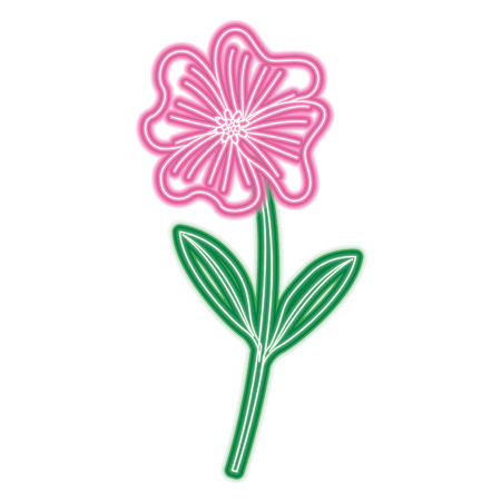 A cute flower periwinkle petals leaves stem icon vector illustration neon pink and green line image Illustration