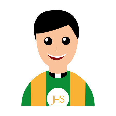 cute priest avatar character vector illustration design