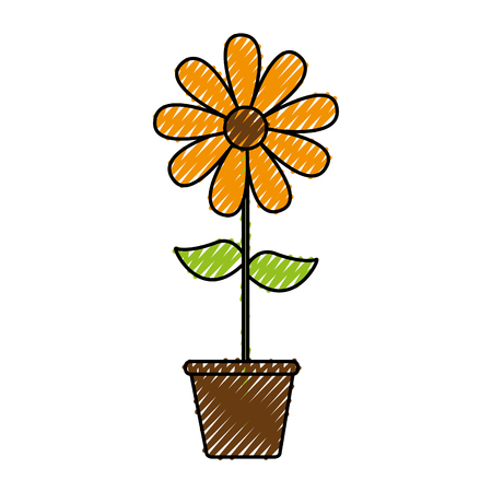 A cute sunflower garden with pot isolated icon vector illustration design