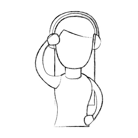 cute woman with earphone vector illustration design