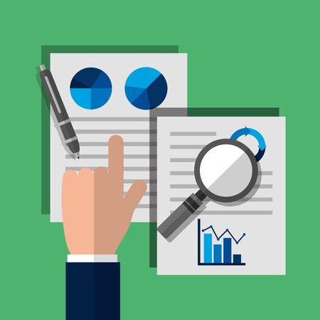 businessman hand paper magnifier pen statistics vector illustration