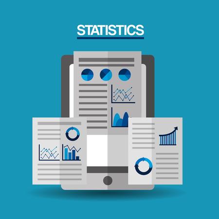 A mobile financial report strategy document statistics vector illustration Çizim