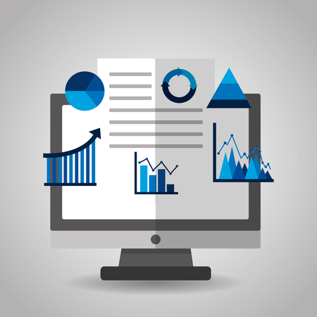 A financial charts and graphs on the computer monitor vector illustration Ilustração