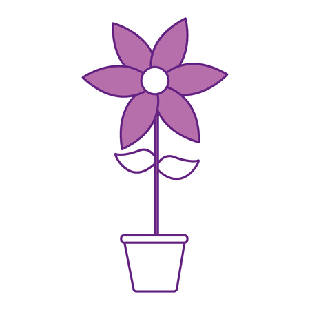 cute flower garden with pot isolated icon vector illustration design Ilustrace