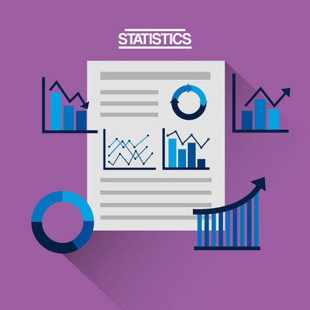 financial statistics corporate document business graph and chart vector illustration Illustration