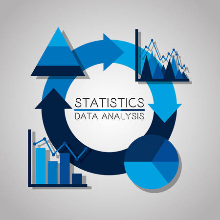 statistics data analysis business pie chart graphic for reports presentations vector illustration Illustration