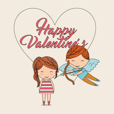happy valentines-cupid with bow arrow and girl vector illustration Archivio Fotografico - 96493236