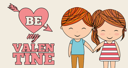 ilttle girl and boy honding hands be my valentines banner vector illustration Иллюстрация