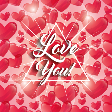 glowing hearts love you triangle frame decoration vector illustration Stock Illustratie