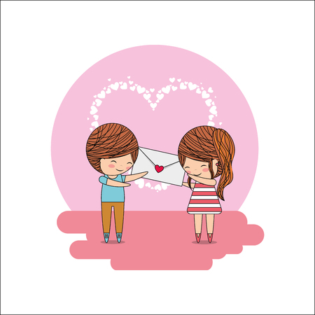 cute little couple with envelope message in hands heart decoration vector illustration Illustration