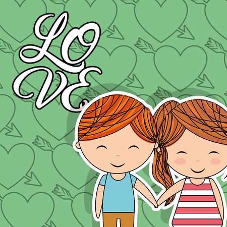 love little couple happy holding hands heart arrow background vector illustration