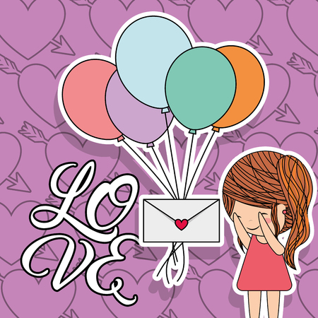 love card little girl with bunch balloons and message surprise vector illustration