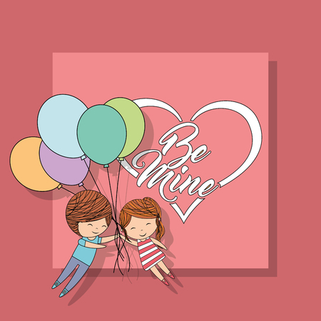 little couple with bunch balloons be mine heart pink background vector illustration