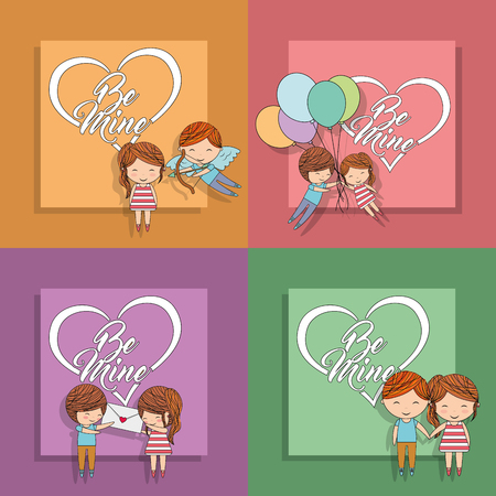 be mine set card couple message balloons cupid colored background vector illustration Ilustração
