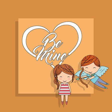 be mine cupid boy with bow and little girl yellow background vector illustration