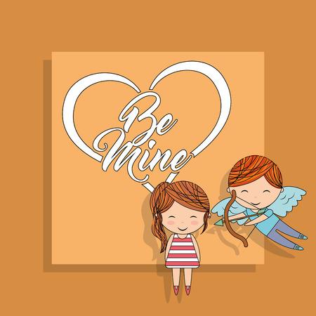 Seien Sie mein Amorjunge mit Bogen und gelber Hintergrundvektorillustration des kleinen Mädchens Standard-Bild - 96493268