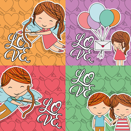 collection of love card little people vector illustration