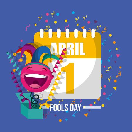 happy emoticon in box with jester hat confetti april fools day vector illustration Stock Illustratie