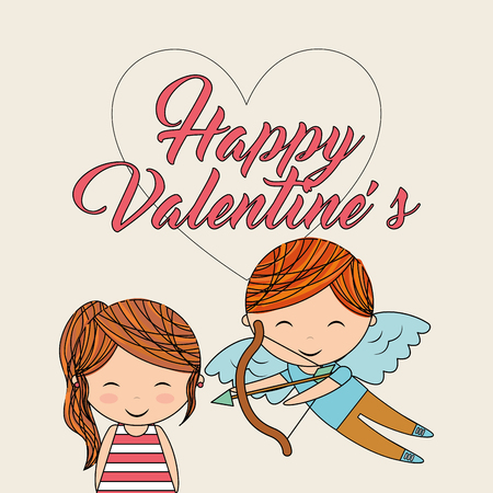 happy valentines cute girl and cupid with bow arrow love image vector illustration