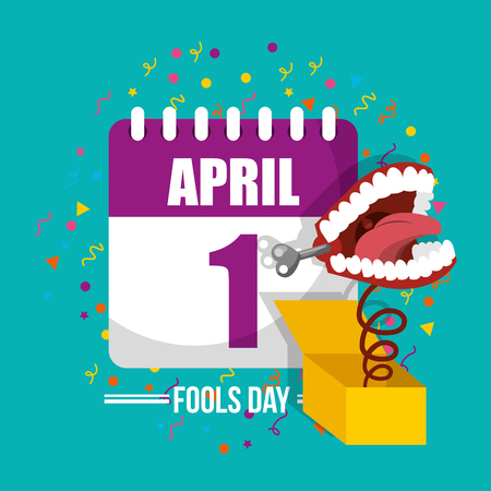 prank mouth in box calendar celebration april fools day vector illustration Çizim