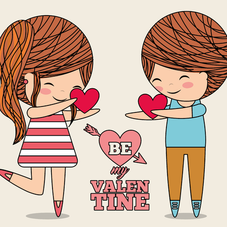 be my valentine couple giving hearts love gift vector illustration