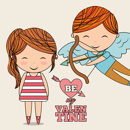 be my valentine cute cupid and little girl vector illustration