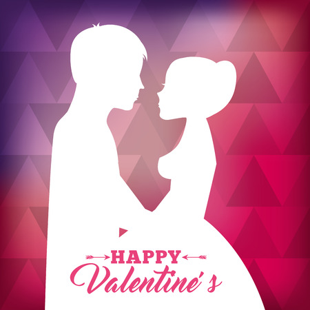 white silhouette of couple love together with pink abstract background happy valentines vector illustration