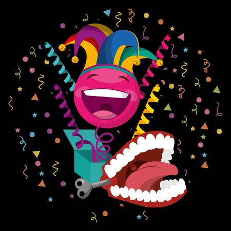 funny emoticon in box prank mouth dark background - april fools day vector illustration
