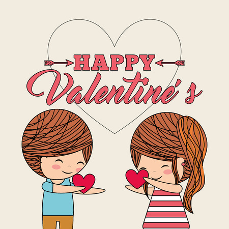 happy valentines little cute couple given a heart gift vector illustration