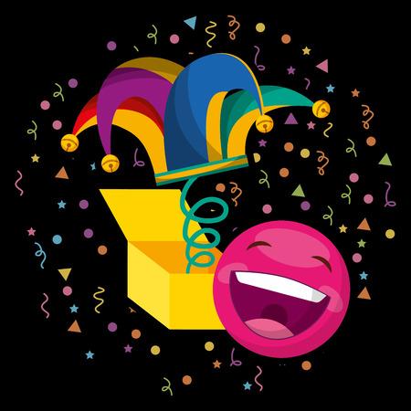 jester hat and emoticon happy confetti april fools day dark background vector illustration