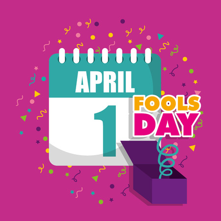claendar and box prank april fools day vector illustration
