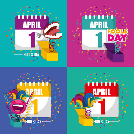 fools day collection joke box happy celebration