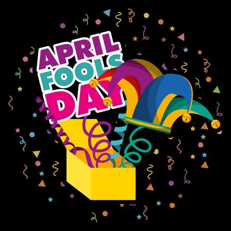 8 avril partie boîte de hibou avec fond de bouffon foncé chapeau illustration vectorielle Banque d'images - 96493306