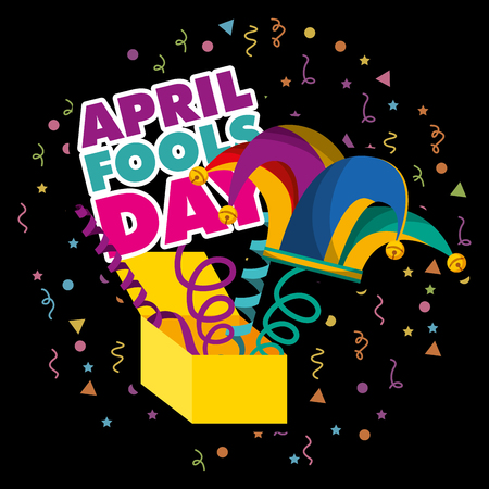 april fools day prank box with jester hat dark background vector illustration Illustration