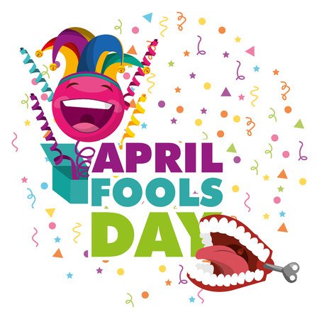 april fools day - emoticon in box and teeth prank vector illustration Ilustracja