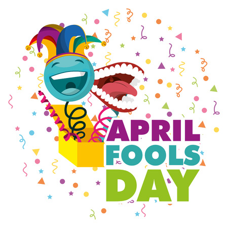 april fools day - surprise emoticon with jester hat and teeth vector illustration