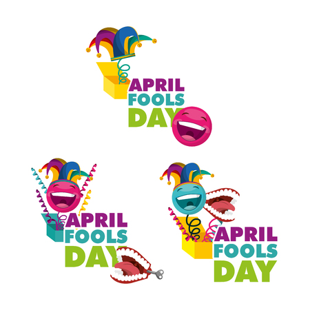 fools day collection joke box happy celebration white background vector illustration