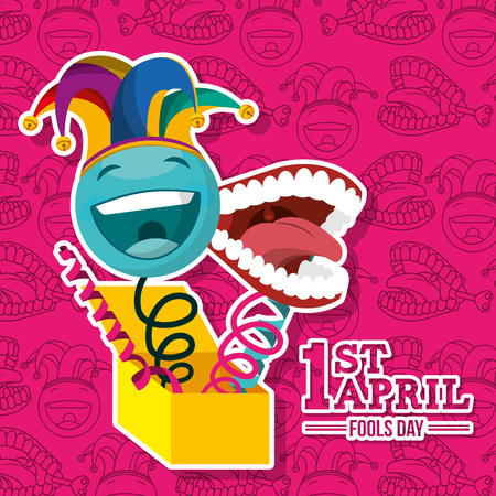 april fools day - smiling emoticon and mouth in box celebration vector illustration
