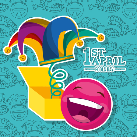 april fools day - smile emoticon jester hat in box party vector illustration Illustration