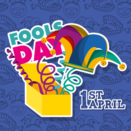 1st april fools day - prank box with jester hat and lettering festive vector illustration