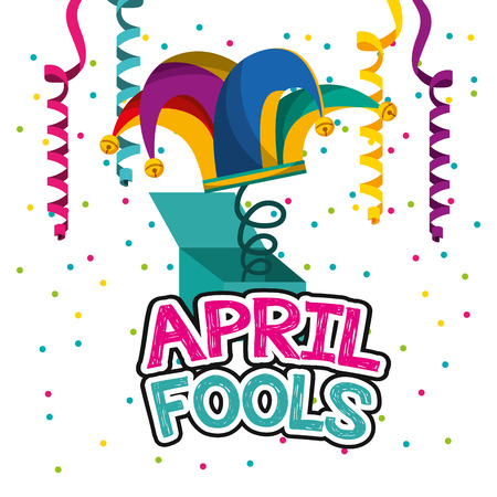 april fools day - jester hat in box hang streamers and confetti vector illustration Illustration