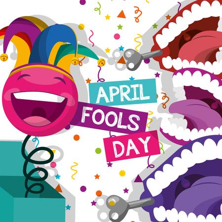 cute decoration emoticon box and teeth confetti celeration - april fools day vector illustration Illustration