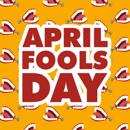 april fools day typography and teeth prank background vector illustration