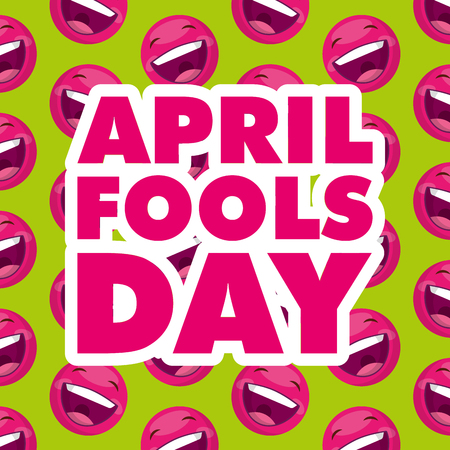 april fools day emoticons smiling background vector illustration Ilustracja