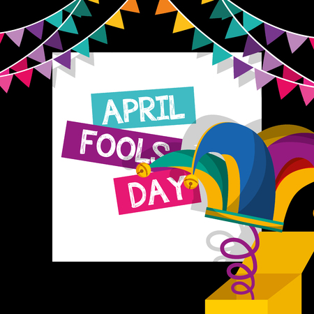 april fools day - jester hat in box garland decoration dark background vector illustration