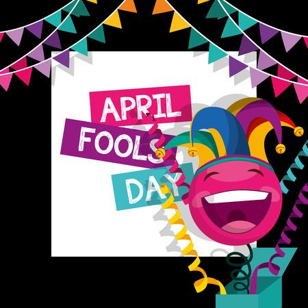 april fools day - emoticon in box garland decoration dark background vector illustration Illustration