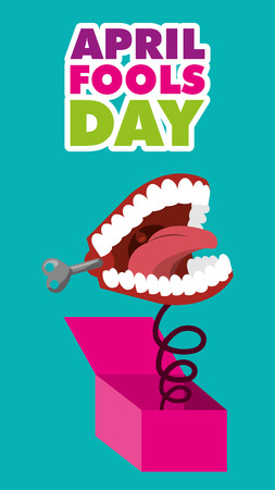 april fools day - teeth in box garland decoration festive dark background vector illustration