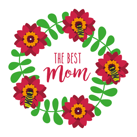 wreath floral bees leaves decoration the best mom vector illustration